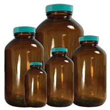 Amber Wide Mouth Packer Bottles with Thermoset F217 PTFE Lined Caps