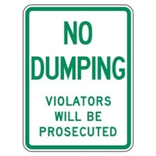 No Dumping Violators Will Be Prosecuted (Green on White)