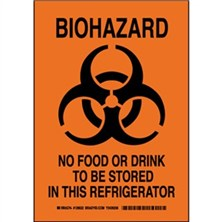 Biohazard No Food Or Drink To Be Stored In This Refrigerator Signs