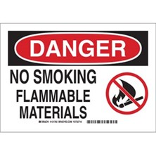 Danger - No Smoking Flammable Materials (With  Picto) Signs