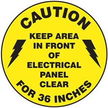 Caution Keep Clear In Front Of Electrical Panel Signs