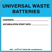 Universal Waste Batteries Label