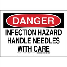 Danger - Infection Hazard Handle Needles With Care Signs