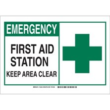 First Aid Station Keep Area Clear (With  Picto) Signs