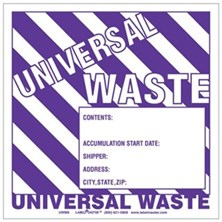 Universal Waste Labels With Generator Info, Unruled