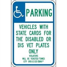 Handicap Parking Vehicles With State Cards For The Disabled Or Dis Vet Plates Only