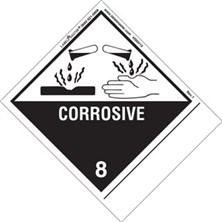 Blank And Pre-Printed Shipping Name Corrosive Labels