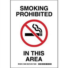 Smoking Prohibited In This Area Signs