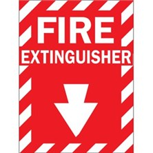 Fire Extinguisher (White on Red With Strip Border)