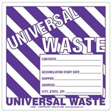 Universal Waste Labels With Generator Info, Ruled