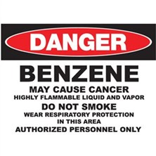 Danger Benzene, May Cause Cancer Signs