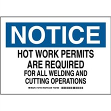 Notice - Hot Work Permits Are Required For All Welding And Cutting Operations Signs