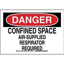 Danger - Confined Space Air-Supplied Respirator Required Signs