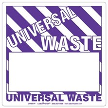 Universal Waste Labels Blank, Half Open Box