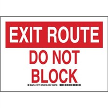 Exit Route Do Not Block Signs