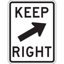 Keep Right With 45° Arrow