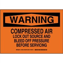 Warning - Compressed Air Lock Out Source And Bleed Off Pressure Before Servicing