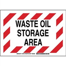 Waste Oil Storage Area Signs
