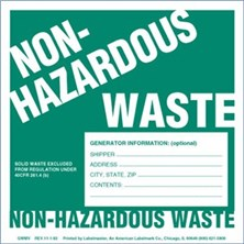 graphic relating to Free Printable Hazardous Waste Labels named Non-Harmful Squander Labels towards Labelmaster