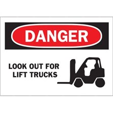 Danger, Look Out For Lift Trucks (With Picto)