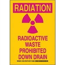Radiation Radioactive Waste Prohibited Down Drain Signs
