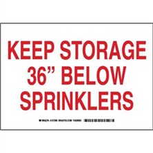 "Keep Storage 36"" Below Sprinklers Signs"