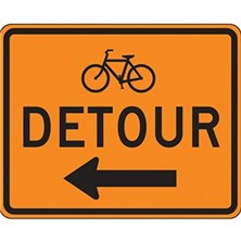 Bicycle Detour With Left Arrow
