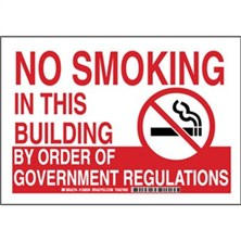 No Smoking In This Building By Order Of Government Regulations Signs