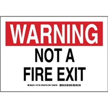 Warning - Not A Fire Exit Signs