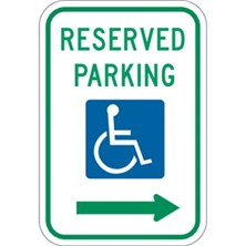 Reserved Parking (With Handicap Symbol, Right Arrow)