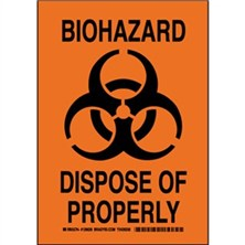 Biohazard Dispose Of Properly Signs