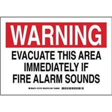 Warning - Evacuate This Area Immediately If Fire Alarm Sounds Signs