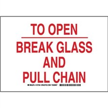 To Open Break Glass And Pull Chain Signs