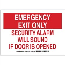 Emergency Exit Only Security Alarm Will Sound If Door Is Opened Signs