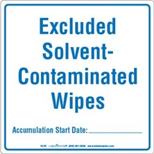 Excluded Solvent-Contaminated Wipes Labels