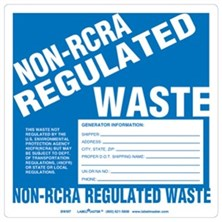 Non-RCRA Regulated Waste Labels With Generator Info, Ruled