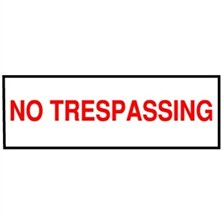 No Trespassing (Red on White)