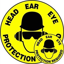Head Ear Eye Protection Required Signs