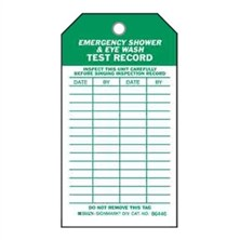 Emergency Shower And Eye Wash Test Tags