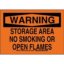 Warning - Storage Area No Smoking Or Open Flames Signs
