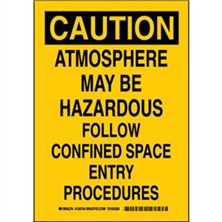 Caution - Atmosphere May Be Hazardous Follow Confined Space Entry Procedures Signs