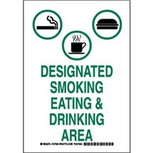 Designated Smoking Eating And Drinking Area Signs