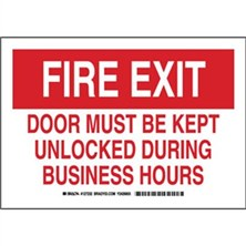 Fire Exit Door Must Be Kept Unlocked During Business Hours Signs