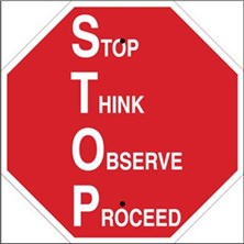 Stop Think Observe Proceed Signs