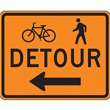 Bicycle And Ped Detour With Left Arrow