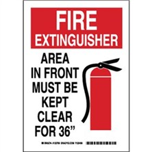 "Fire Extinguisher Area In Front Must Be Kept Clear For 36"" Signs"