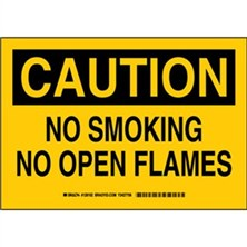 Caution - No Smoking No Open Flames Signs