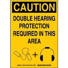 Caution - Double Hearing Protection Required In This Area Signs