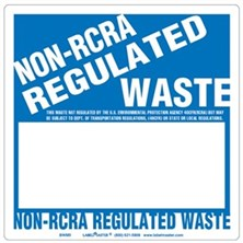 Non-RCRA Regulated Waste Labels Blank, Half Open Box
