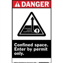 Ansi Danger, Confined Space Enter By Permit Only